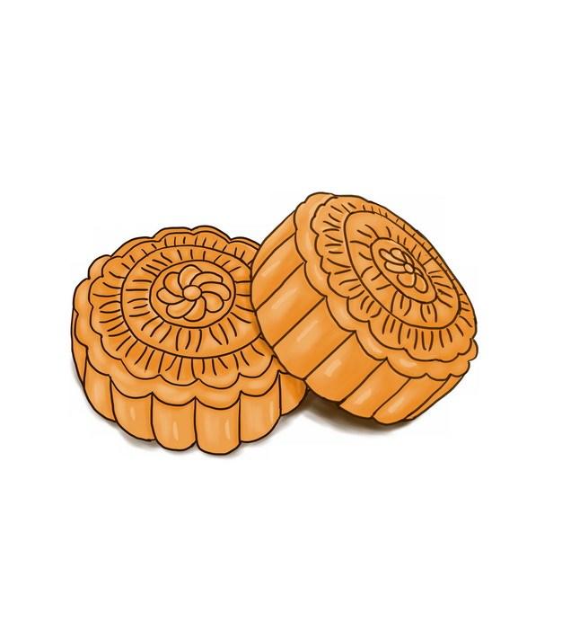 两个手绘月饼141192 png图片素材 生活素材-第1张