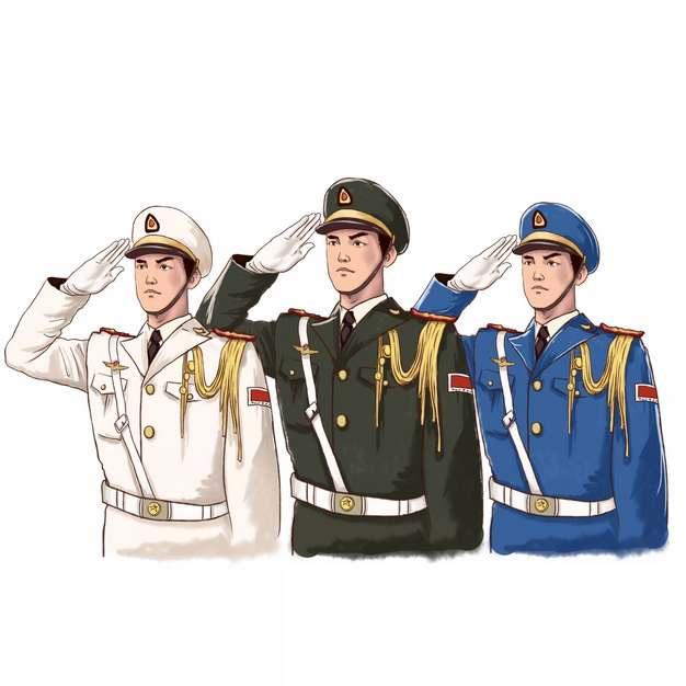 敬礼的解放军战士三军仪仗队301876png免抠图片素材