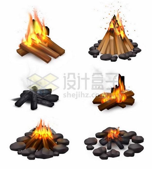 6款燃烧木头的篝火450748png矢量图片素材 效果元素-第1张