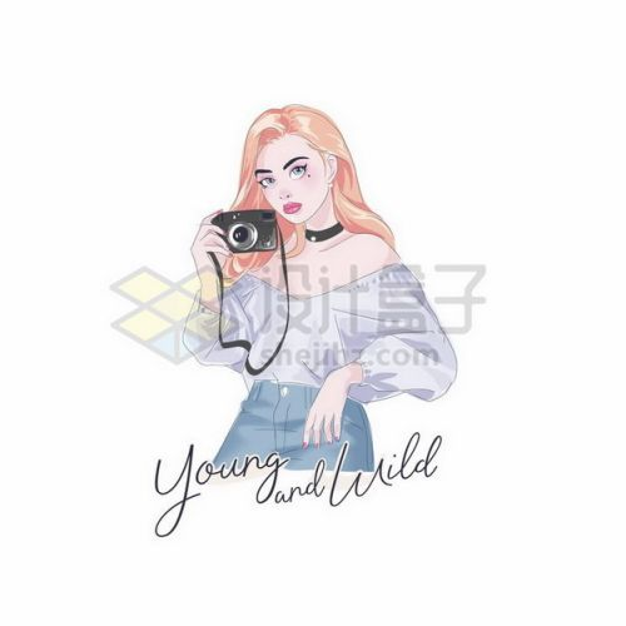 手绘时尚女孩拿着相机拍照彩绘插画684009png矢量图片素材