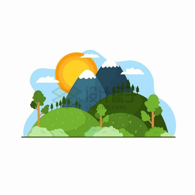 高山森林和落日风景扁平插画png图片素材
