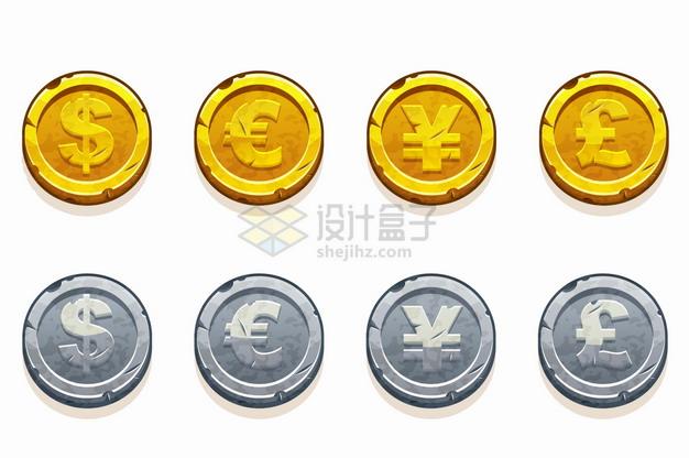 美元欧元人民币英镑符号卡通金币银币png图片素材 金融理财-第1张