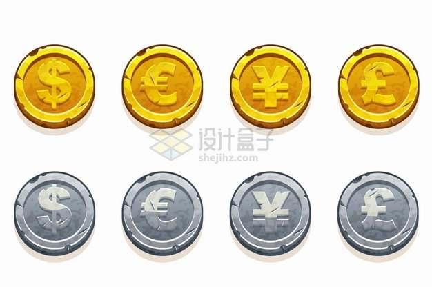 美元欧元人民币英镑符号卡通金币银币png图片素材