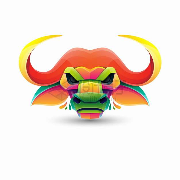 多彩色块组成的公牛头logo设计png图片素材