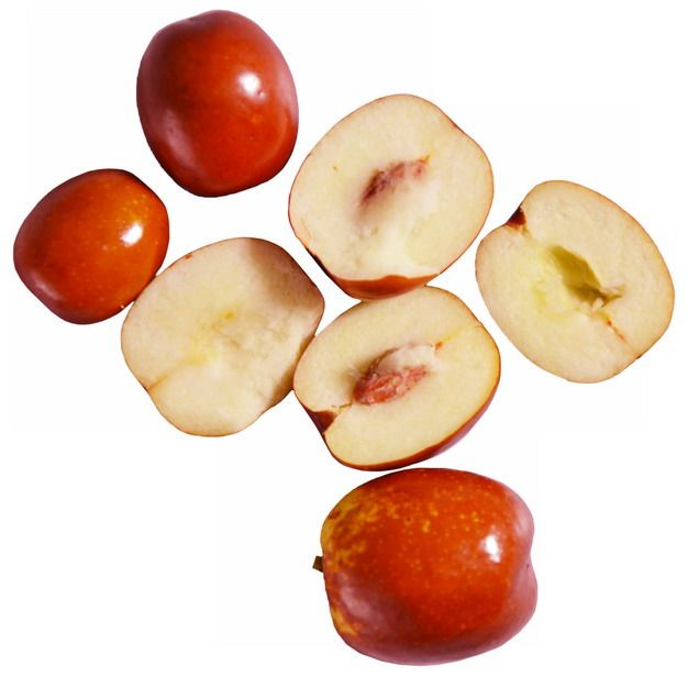 一小堆切开的红枣露出枣核和果肉990694png免抠图片素材
