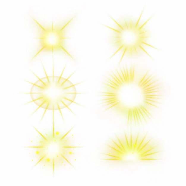 6款黄色光芒效果发光感光效果光晕装饰832768PSD免抠图片素材