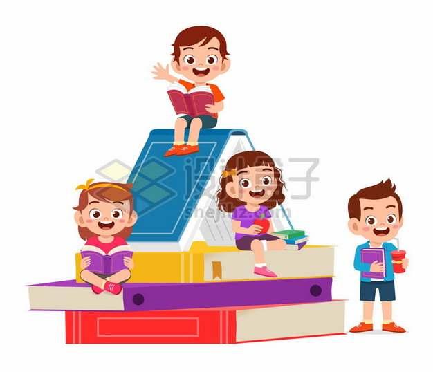 卡通小朋友在书山上快乐看书958632png矢量图片素材