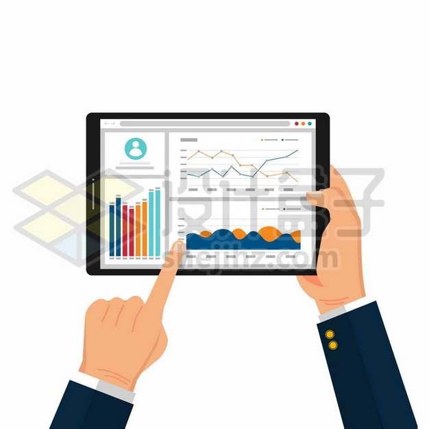 双手拿着平板电脑查看和分析数据308254矢量图片免抠素材