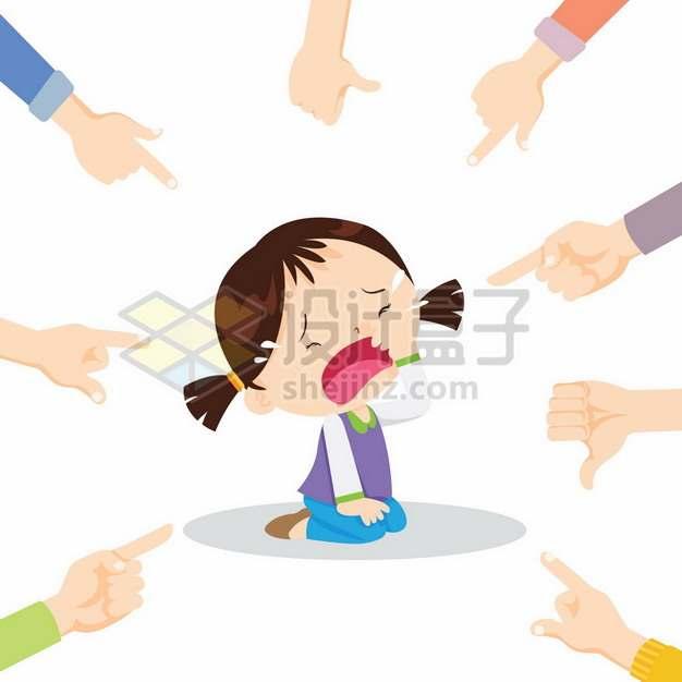 哭泣的卡通小女孩被众人指责校园霸凌450950png矢量图片素材