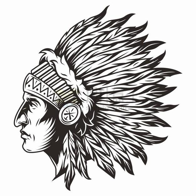 印第安酋长画像头像侧视图黑色线条手绘插画png图片素材 人物素材-第1张