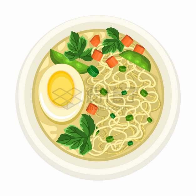 一碗鸡蛋面俯视视角美味面条美食png图片素材