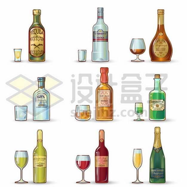 9款洋酒香槟酒等美酒酒瓶酒杯772156免抠矢量图片素材