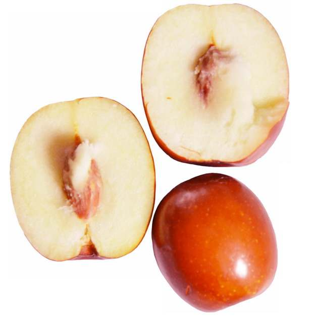 三颗切开的红枣露出枣核和果肉296737png免抠图片素材