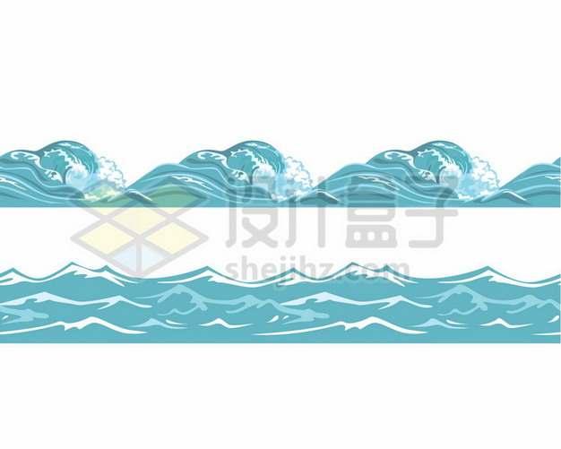 2款蓝色的浪花海浪波浪效果681086矢量图片免抠素材