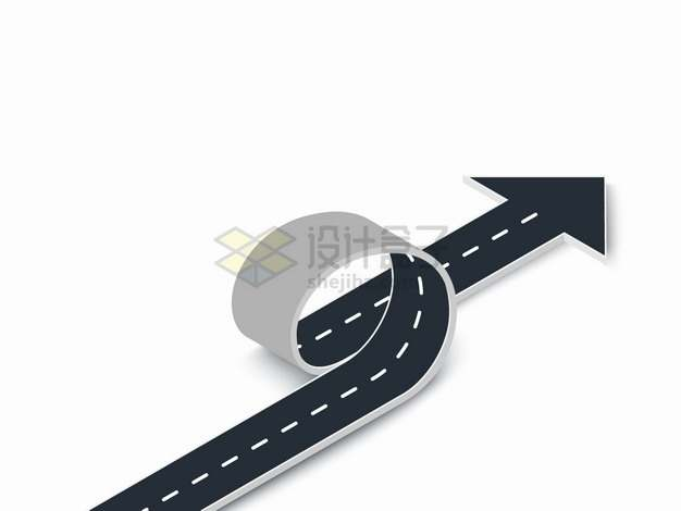 3D立体道路卷曲方向箭头png图片素材