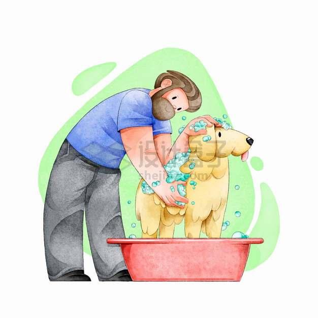 给狗狗洗澡宠物彩绘插画png图片素材