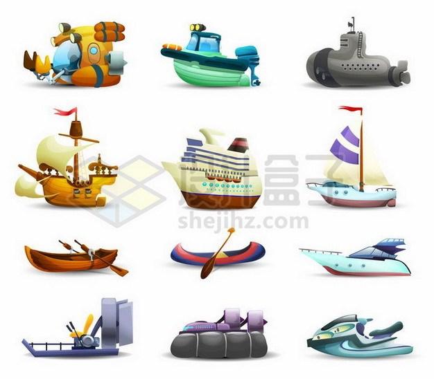 9款卡通潜水艇快艇帆船邮轮独木舟皮划艇气垫船摩托艇等海上交通工具764891png矢量图片素材 交通运输-第1张