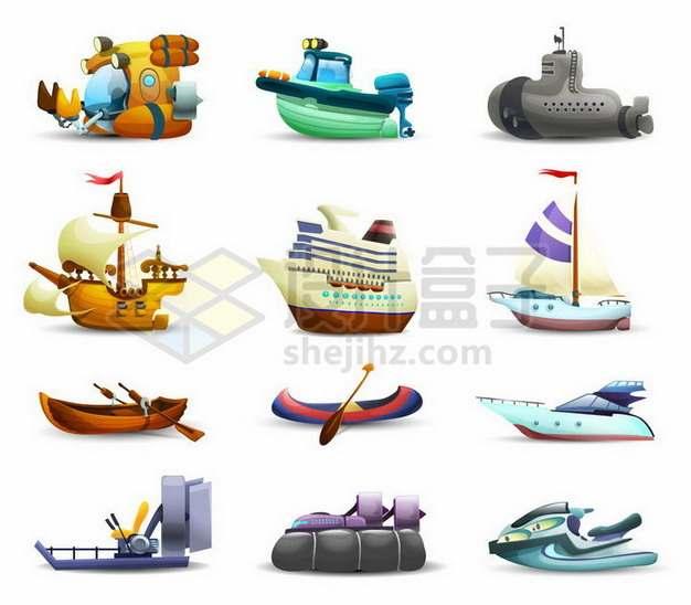 9款卡通潜水艇快艇帆船邮轮独木舟皮划艇气垫船摩托艇等海上交通工具764891png矢量图片素材