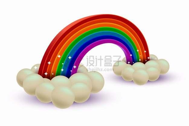 3D立体云朵和七彩虹8753402png图片素材