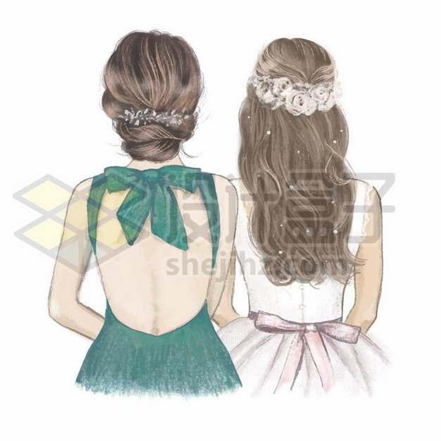 穿着礼服的两个女孩子闺蜜好朋友伴娘新娘背影422317矢量图片免抠素材