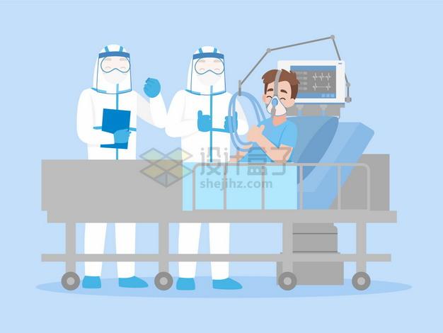 卡通医生用呼吸机治疗病床上的新型冠状病毒肺炎病人png图片素材