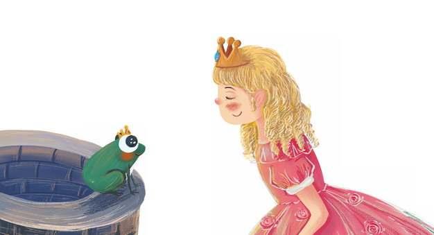 安徒生童话青蛙王子和公主的故事手绘插画186903png图片免抠素材