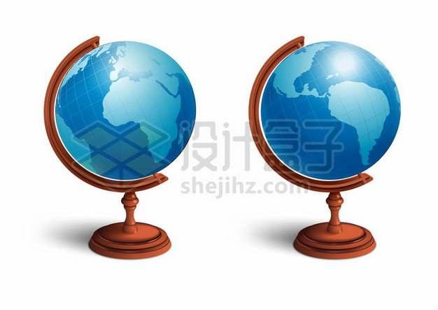 2个不同角度的地球仪110363矢量图片免抠素材