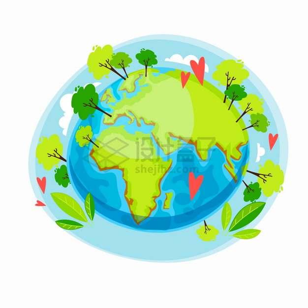 卡通地球上种满了大树保护地球环境主题插画png图片素材