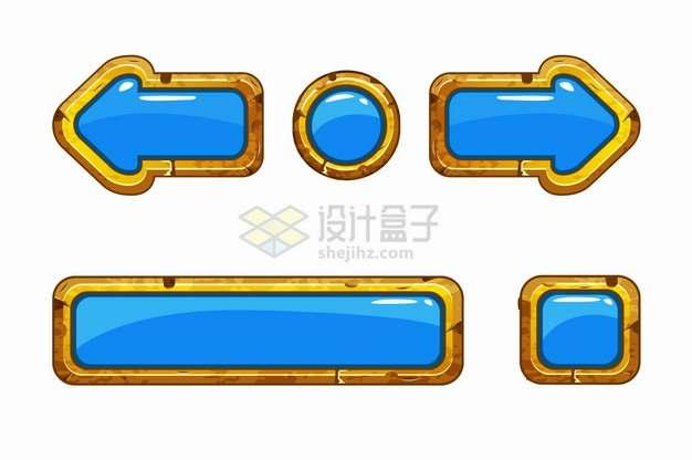 金色金属边框蓝色水晶按钮游戏方向键png图片素材