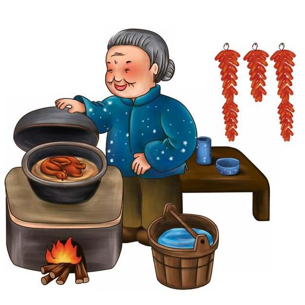 卡通奶奶正在土灶上做烧鹅807289png图片素材