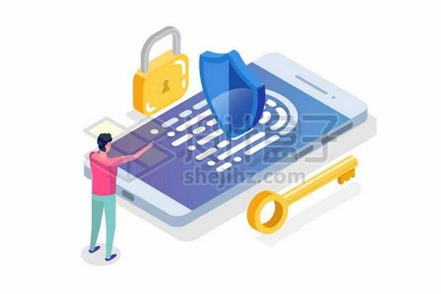 指纹识别手机安全措施扁平插画510932免抠矢量图片素材