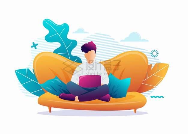 卡通男人盘腿坐在沙发上玩电脑扁平插画png图片素材