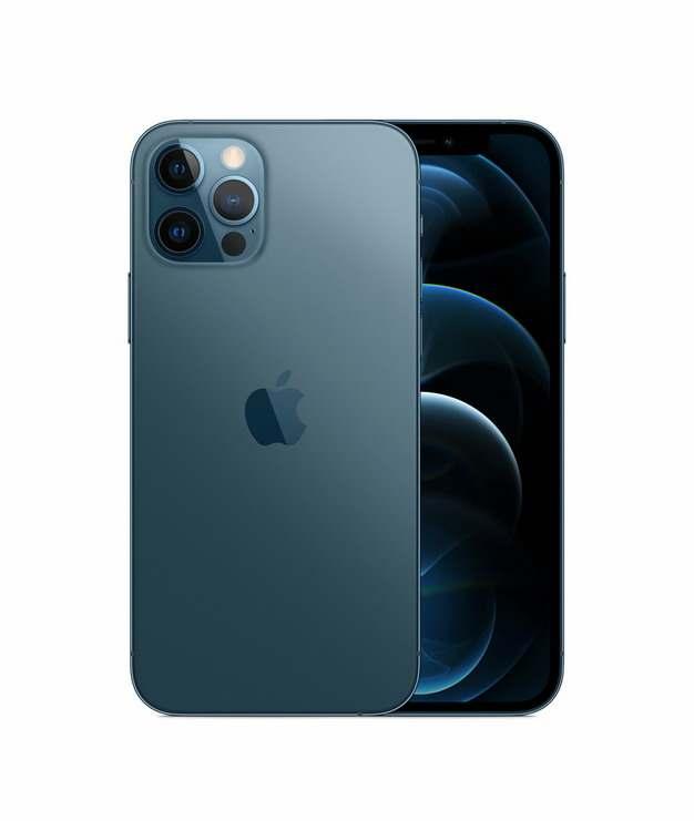 正面背面展示的蓝色苹果iPhone 12 Pro手机png免抠图片素材215994