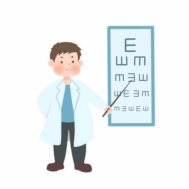 卡通老师正在使用视力测量表686742png图片免抠素材