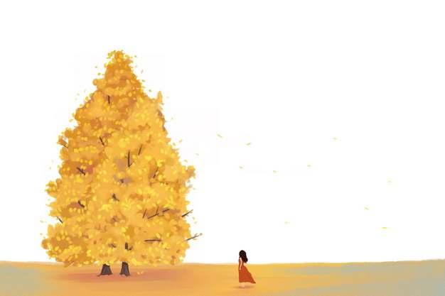 深秋田野上的大树和红衣女孩546314png图片免抠素材