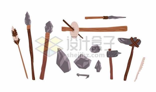 旧石器时代原始人制作的各种石斧弓箭等石头工具851047png免抠图片素材