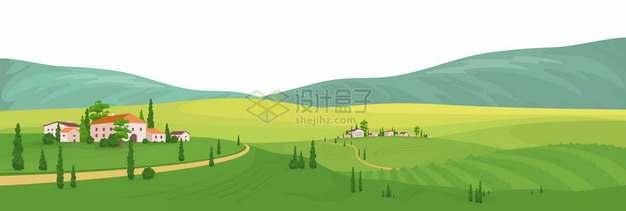 远方大山和近处绿油油的田野乡村草原499122png矢量图片素材