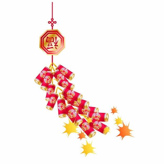 新年春节过年一串鞭炮喜庆装饰185604AI矢量图片素材