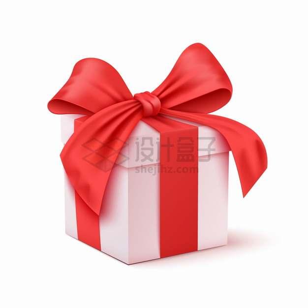 白色的礼物盒礼品盒上包扎上红色的丝绸蝴蝶结png图片素材