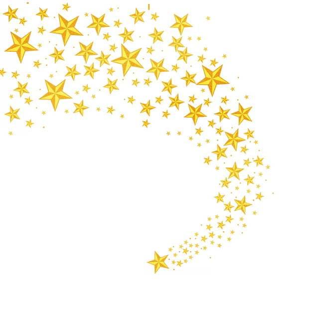 创意金色五角星划过天空聚合236784PSD免抠图片素材