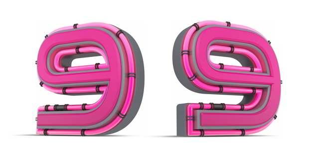 C4D风格粉红色3D立体数字九9艺术字体903306免抠图片素材