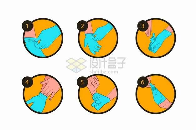 正确脱一次性医用手套橡胶手套的方法插图png图片素材