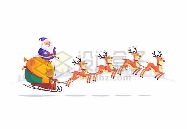 卡通驯鹿拉着圣诞老人和送礼物的圣诞车293296免抠矢量图片素材