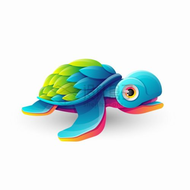 多彩色块组成的卡通海龟logo设计png图片素材