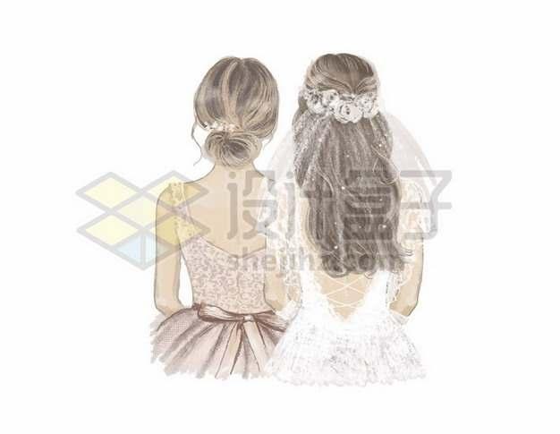 穿着婚纱的两个女孩子闺蜜好朋友伴娘新娘背影805657矢量图片免抠素材