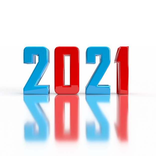 蓝色红色倒影2021年立体字体543232免抠图片素材