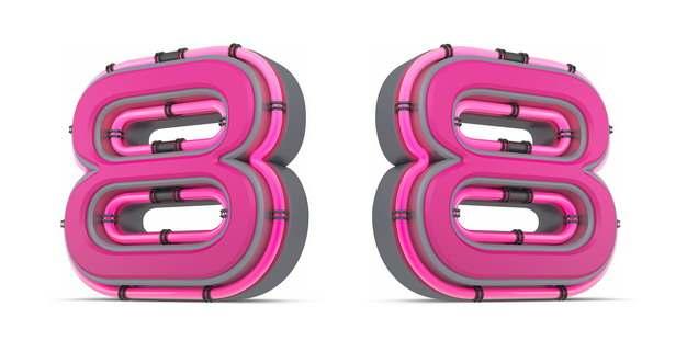 C4D风格粉红色3D立体数字八8艺术字体142154免抠图片素材