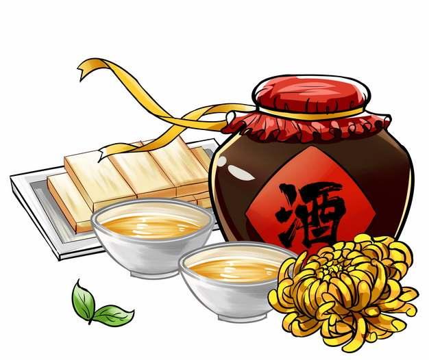 九九重阳节喝酒酿酒酒坛子和菊花手绘插画167793png图片免抠素材