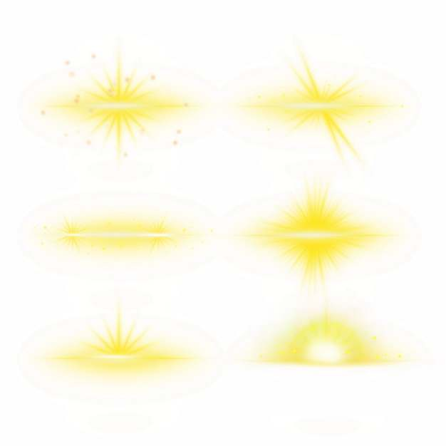 6款黄色光芒效果发光感光效果装饰295721PSD免抠图片素材
