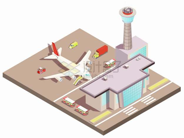 2.5D风格飞机场候机大厅和客机png图片素材